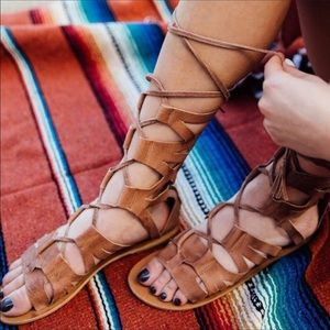 Free people tan lace up gladiator sandals